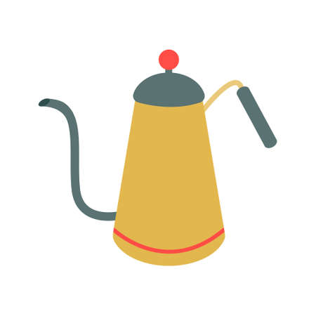 A coffee pot, a teapot in vintage green and yellow with a long, curved spout. Vector illustration, icon.
