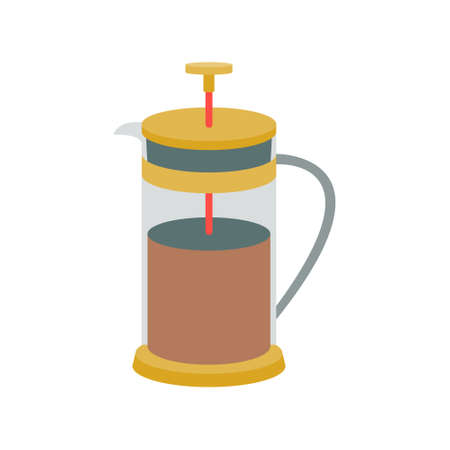 French press with coffee in vintage colors on a white background. Vector illustration, icon.