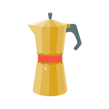 Geyser coffee maker in vintage yellow on a white background. Vector illustration in flat style.