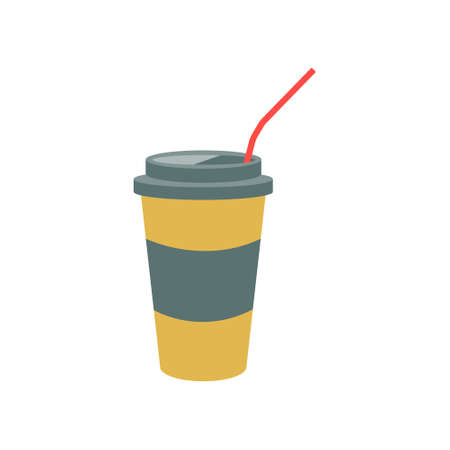 A cup of coffee with a straw in vintage colors on a white background. Vector illustration, icon.