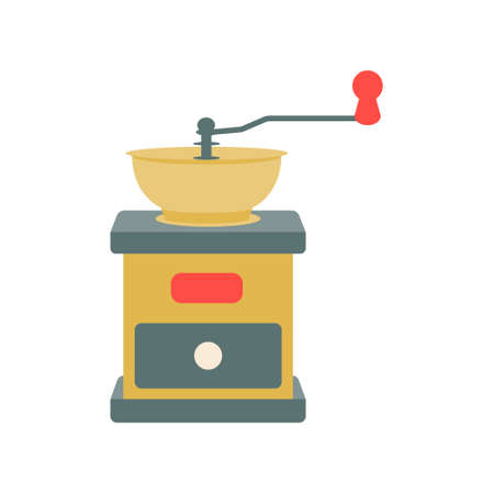 Classic manual coffee grinder in vintage color on a white background. Vector illustration, icon.
