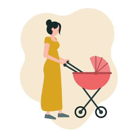 A young mother walks with a stroller. Vector illustration in a flat style isolated on a white background, icon.