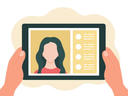 Tablet in hand, chat online. The concept of virtual communication. Vector illustration in a flat style isolated on a white background.  イラスト・ベクター素材