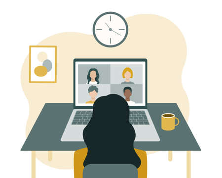 Online conference, communication and training. A woman sits in front of a laptop and looks at the screen. Vector illustration in a flat style isolated on a white background.