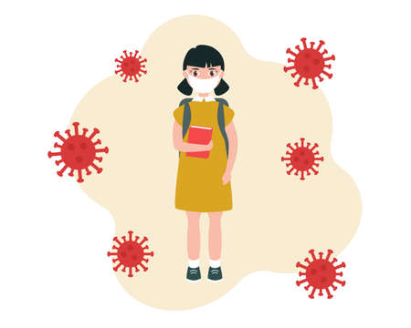 A schoolgirl wearing a medical mask, carrying a backpack and a book in her hand, is being trained during the pandemic.  Vector illustration in a flat style, isolated on a white background.