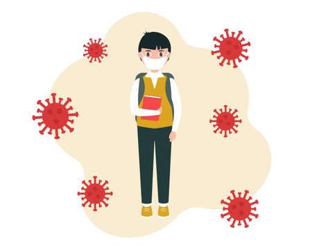 A schoolboy in a medical mask, with a backpack and a book in his hand, is being trained during the pandemic. Vector illustration in a flat style, isolated on a white background.  イラスト・ベクター素材