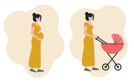 A set of two images: a pregnant girl hugging her stomach, a young mother walking with a stroller. Icons on the theme of motherhood. Vector illustration in a flat style isolated on a white background.  イラスト・ベクター素材