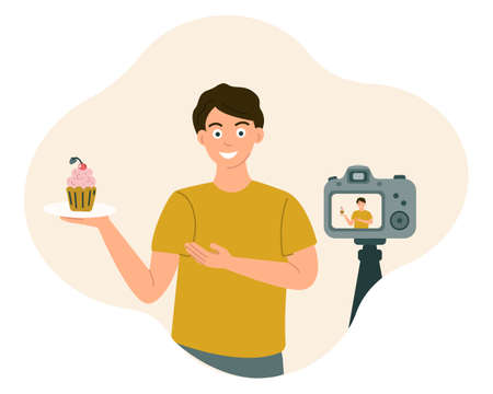 Food blogger guy smiles and shows food in front of the camera while recording a video, photo Vector illustration in flat style.
