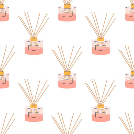 Aroma diffuser for home in pink powder color on a white background. Vector seamless pattern, in flat style.  イラスト・ベクター素材