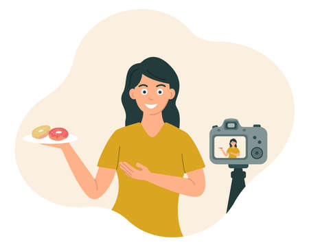 Food blogger a woman smiles and shows food in front of the camera while recording a video, photo. Vector illustration in flat style.
