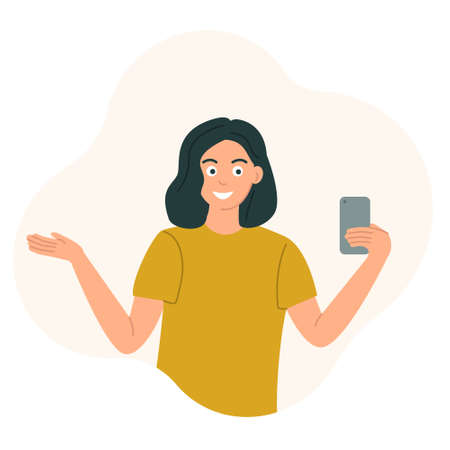 The girl blogger holds a phone in her hand and gestures, live broadcast, communication with subscribers. Vector illustration in flat style.