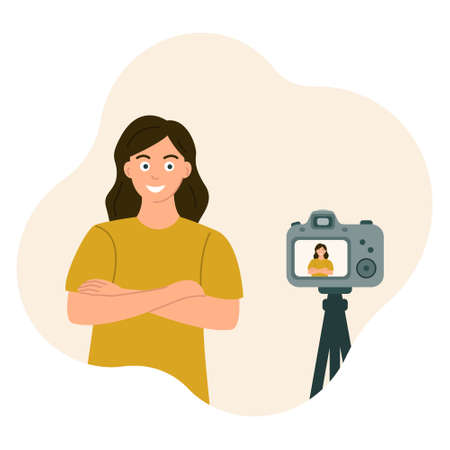 The girl crossed her arms and smiled at the camera. Photos and videos from a tripod, posing. Vector illustration in flat style.