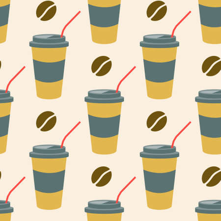 Coffee in a plastic cup with a straw and coffee beans on a light background. Vector seamless pattern in flat style.