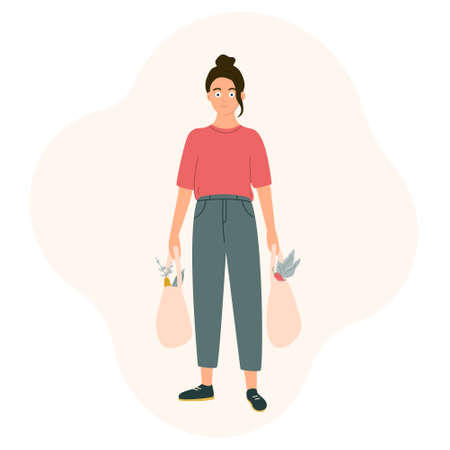 A young girl with shopping from the supermarket in her hands. Daily chores, going to the grocery store. Vector illustration in a flat style on a white background.