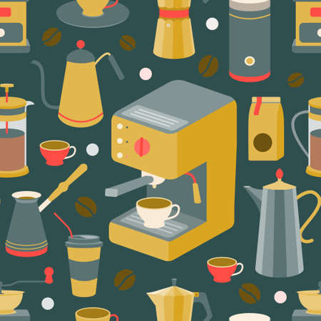 Set of coffee machine, geyser coffee maker, coffee pot, French press, coffee beans, cups. Vector seamless pattern.