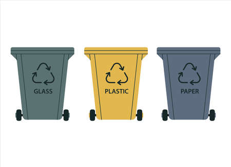 Garbage containers for sorting. Plastic, glass, and paper. Recycling of waste, recyclable materials. Vector illustration in a flat style on a white background.