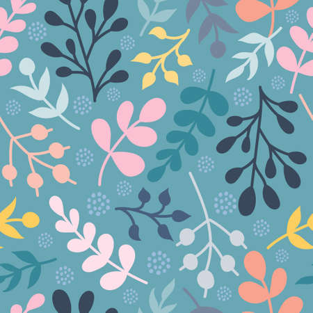 Colorful plants, twigs. Vector seamless pattern in a flat style.  イラスト・ベクター素材