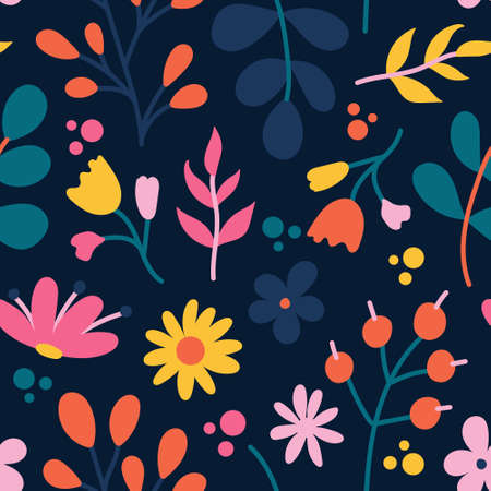 Plants and flowers on a dark background, vector seamless pattern in a flat style.  イラスト・ベクター素材