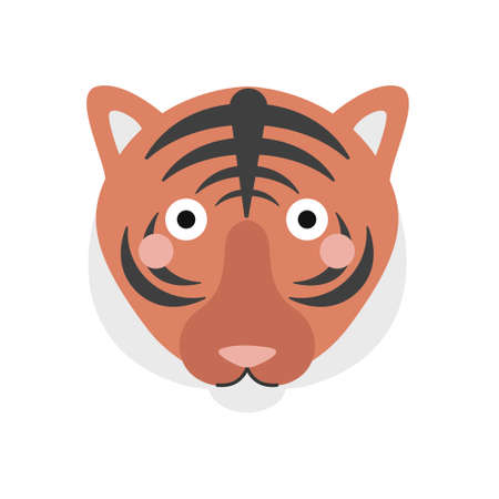 Cute tiger face, portrait on a white background. Vector illustration in a flat style.  イラスト・ベクター素材
