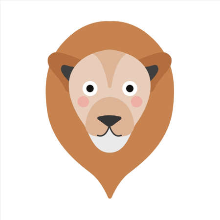 Cute lion face, portrait on a white background. Vector illustration in a flat style.