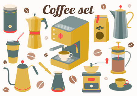 Coffee set of kitchen accessories for making a drink. Maker, French press, pot, coffee machine, grinder, grains. Vector illustration.