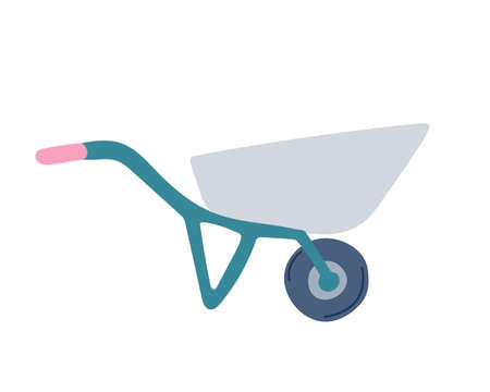 Garden cart in a simple flat style on a white background. Vector illustration.  イラスト・ベクター素材