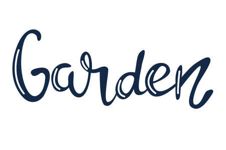 Garden, vector hand lettering in blue with white highlights on a white background.