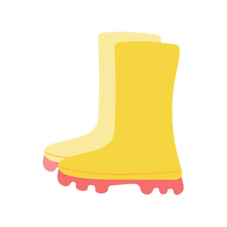 Yellow rubber garden boots on a white background. Vector illustration in flat style.