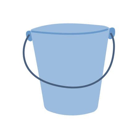 Metal bucket in a flat style on a white background. Vector simple illustration, icon.  イラスト・ベクター素材
