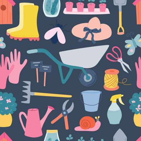 Garden tools, vector seamless pattern on a blue background in a flat style, many elements.