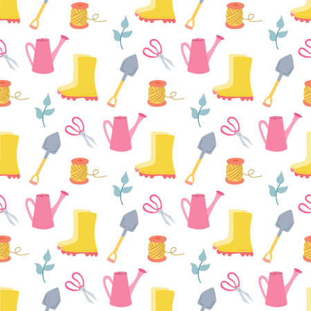 Garden tools, vector seamless pattern on white background in flat style.