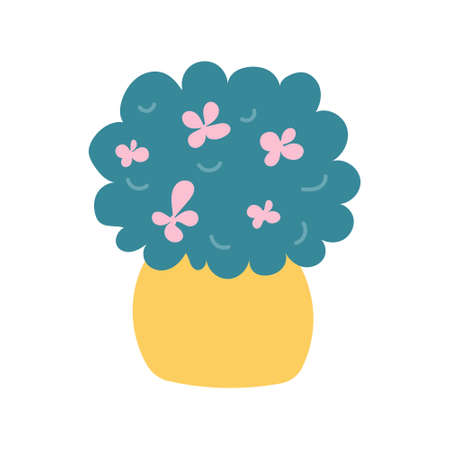 A plant with pink flowers in a yellow pot on a white background. Vector illustration in flat style.  イラスト・ベクター素材