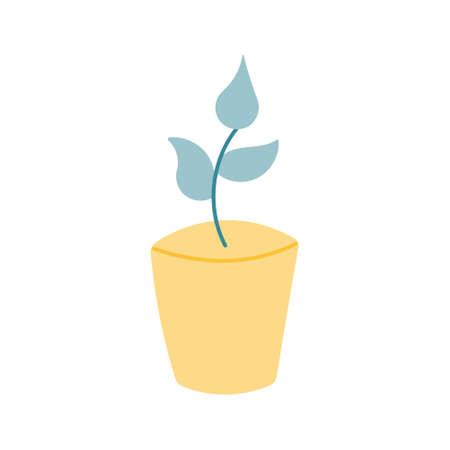 Plant in a yellow pot, simple vector illustration in a flat style on a white background, icon.