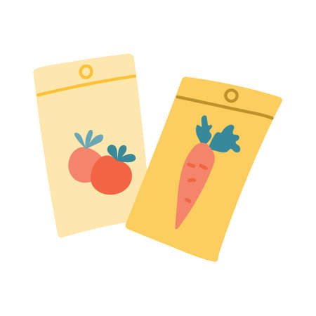 Tomato and carrot seeds in a package, summer garden. Vector illustration in a flat style on a white background.  イラスト・ベクター素材