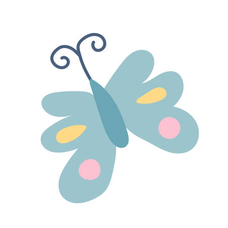 Colorful butterfly on a white background. Vector illustration in flat style, icon, simple design element.  イラスト・ベクター素材