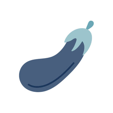 Blue eggplant on a white background. Vector illustration in flat style, icon, simple element for design.  イラスト・ベクター素材