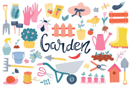 A large set on the theme of gardening, tools, garden items, hand lettering. Spring, growing vegetables. Vector illustration in a flat style on a white background.