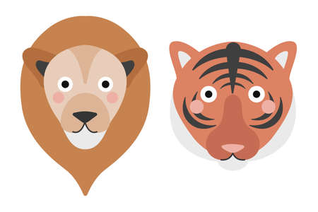 Cute tiger and lion face on white background. Vector illustration in cartoon flat style, children s print.  イラスト・ベクター素材