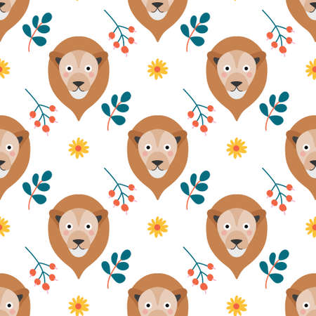 The face of a cute lion with flowers and plants on a white background. Vector seamless pattern in a flat style.