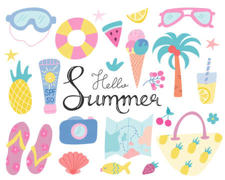 Summer set, beach and tourist objects for decoration with hand lettering on a white background. Vector illustration in flat style.
