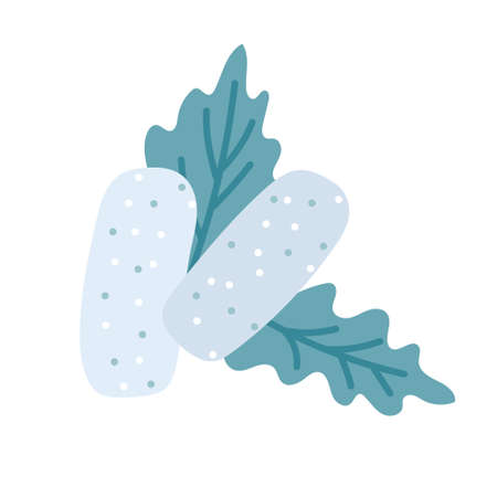 Mint gum pads with leaves on a white background. Fresh breath, dental hygiene. Vector illustration in flat style, icon  イラスト・ベクター素材