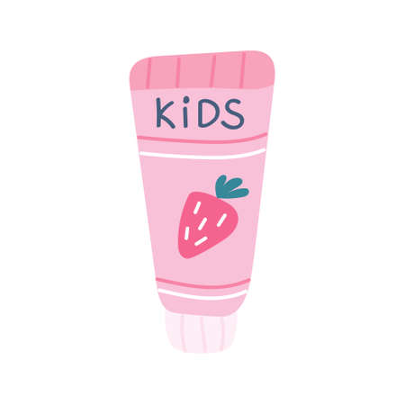 Children s strawberry-flavored toothpaste hand-painted on a white background. Vector image in a flat style, icon.