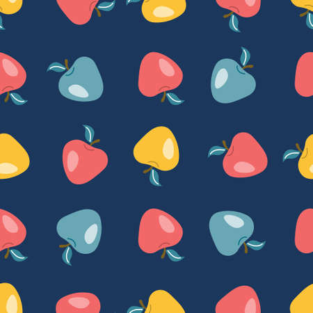 Colorful apples on a dark blue background in a flat style. Vector seamless pattern