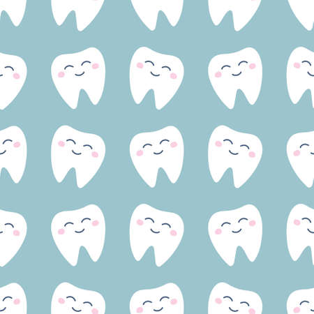 Cute white tooth with pink cheeks on a light green background. Vector seamless pattern in flat style