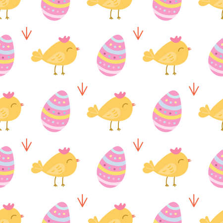 A small cute chicken with an Easter egg on a white background. Vector seamless pattern in a flat style.  イラスト・ベクター素材