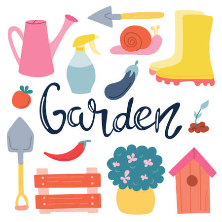 A set of elements, garden items with hand lettering on a white background. Spring, vegetable garden. Vector image in flat style.