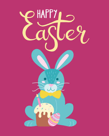 Cute rabbit with a cake and an Easter egg. Greeting card, poster. Vector illustration in flat style with hand lettering.