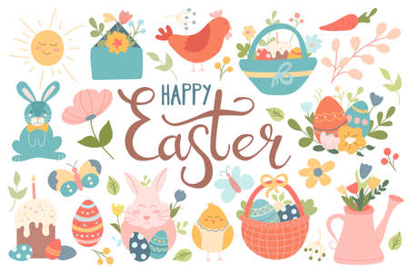 A large set of Easter design elements. Cake, eggs, flowers, rabbit, chicken, baskets. Spring festival. Vector image in flat cartoon style with hand lettering.