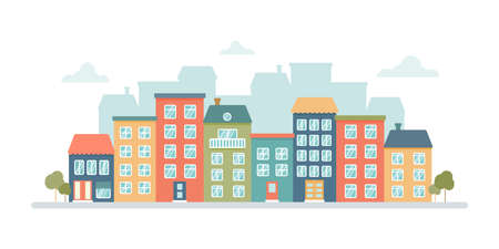 Panorama of the city with colored multi-storey houses on a white background. Vector flat illustration in cartoon style.