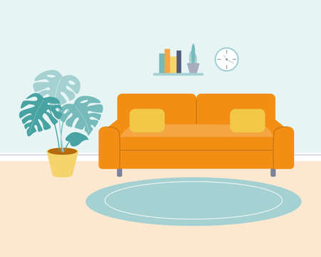 A living room with an orange sofa, a wall shelf with books, a clock, a monstera plant in a pot. Vector minimalistic illustration in a flat style